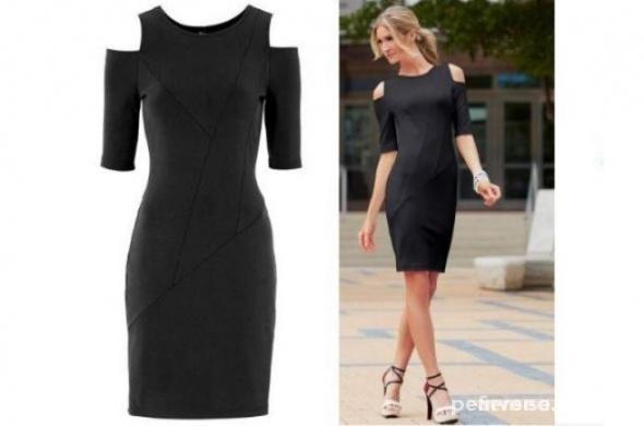 4ce96801b1 Suknie i sukienki CZARNA sukienka ODKRYTE RAMIONA WYCIĘCIA 32 34 XS