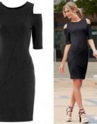 CZARNA sukienka ODKRYTE RAMIONA WYCIĘCIA 32 34 XS