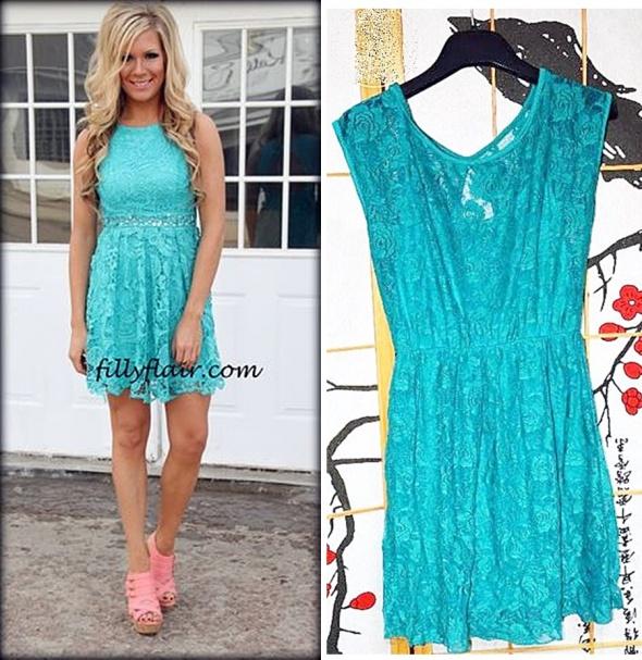 a35e864df24e1b turkusowa koronkowa sukienka rozkloszowana w Suknie i sukienki ...