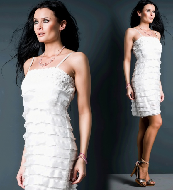 Suknie i sukienki SUKIENKA MINI FALBANKI KREMOWA 38 M
