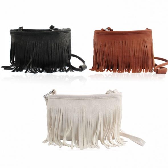 Mała torebka na ramię z frędzelkami kolory frędzle w Torebki