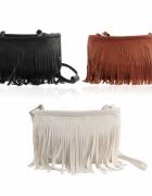 Mała torebka na ramię z frędzelkami kolory frędzle