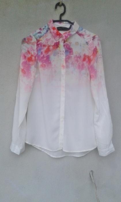 Ubrania koszula ombre kwiaty biała mgiełka 34 36