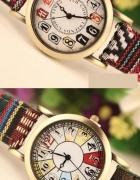 zegarek parciany pasek kolorowy różne wzory
