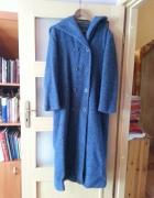 Wełniany płaszcz zimowy indygo niebieski rozm 40