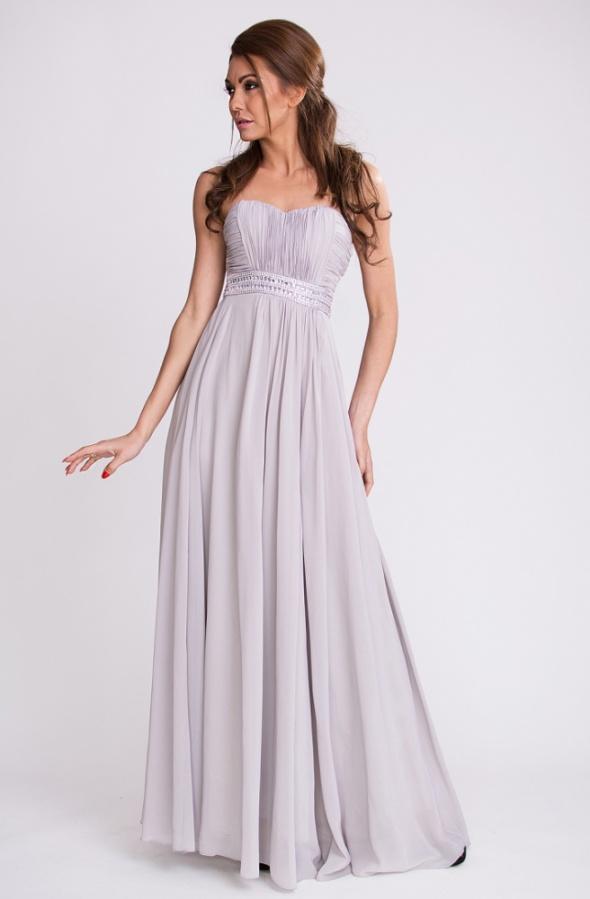 Wieczorowa srebrna suknia