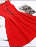 38 M czerwona rozkloszowana sukienka