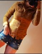 Zamszowa koszula H&M 34 XS carmel nude karmel