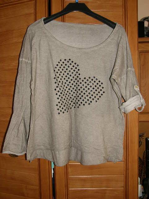 Włoska bluzeczka z sercem dla puszystej 46 48