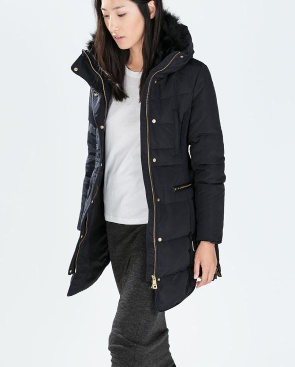 Ubrania Zara kurtka puchowa płaszcz granat M 38