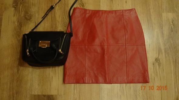 Spódnice Czerwona spódnica z prawdziwej skóry