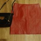 Czerwona spódnica z prawdziwej skóry