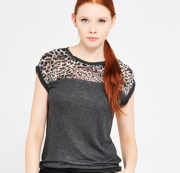 Ubrania Reserved bluzka z łączonych materiałów panterka