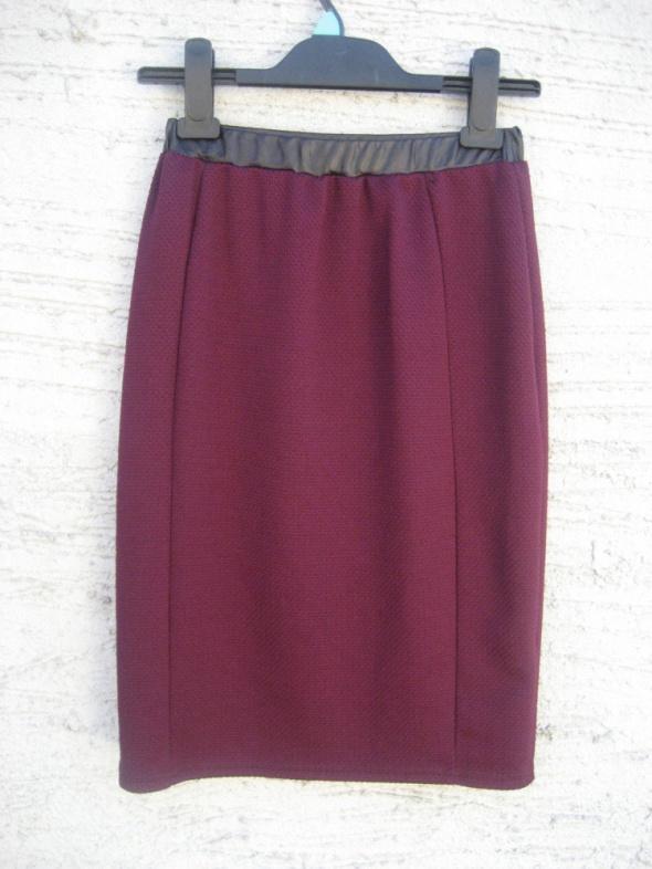 Spódnice modna bordowa spódnica midi wykończenie ekoskórkow
