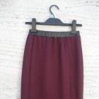 modna bordowa spódnica midi wykończenie ekoskórkow