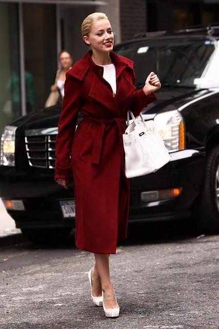 Eleganckie Czerwony płaszcz