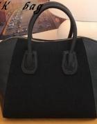 Czarna torebka z zamszem