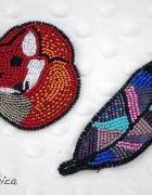 Koralikowy lisek broszka handmade