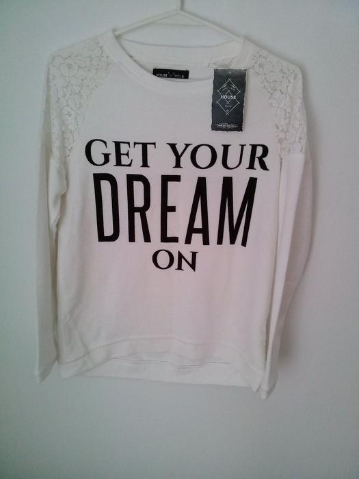 Biała bluza sweter house koronka...