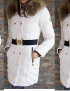 Płaszcz puchowy złote dodatki jenot