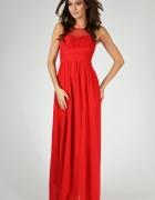 Długa czerwona sukienka na bal...