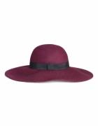 śliwkowy wełniany kapelusz H&M z szerokim rondem