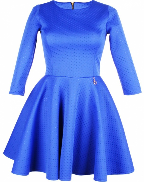 sukienka chabrowa rozkloszowana kobaltowa s
