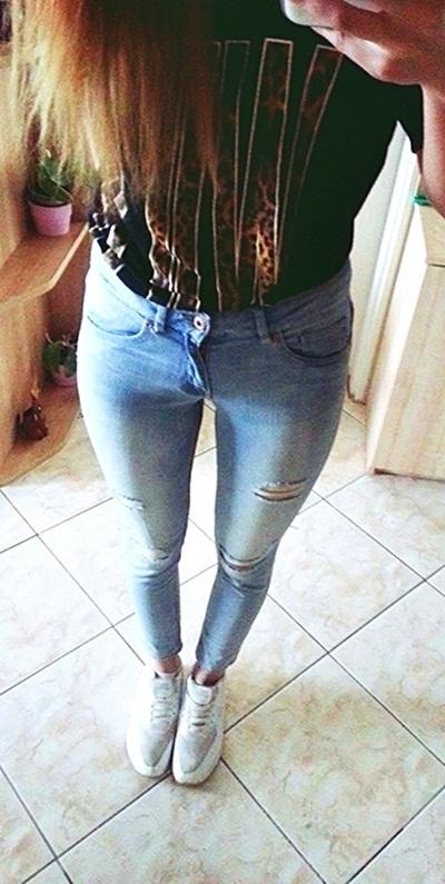Blogerek spodnie skinny dziury spodnie h&M