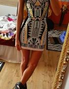 river Island sukienka wzory aztec xs xxs mega mieta zloto