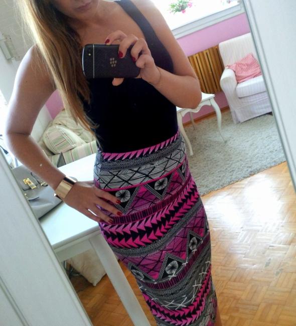 Spódnice Ołówkowa spódnica New Look azteckie wzory neon S