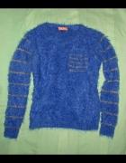 Fluffy sweter włochaty kobalt S M