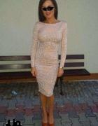 Sukienka Asos glitter midi nude brokatowa cielista...