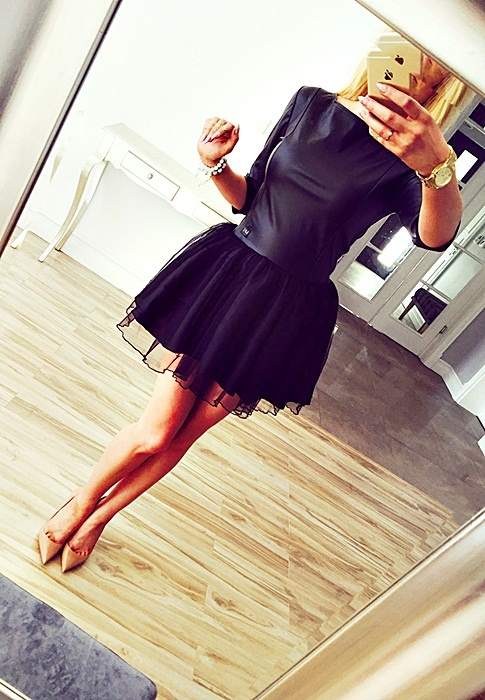 sukienka skóra kloszowana tiul