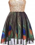 sukienka w pawie pióra xs lub s