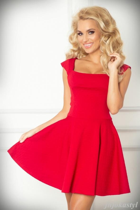 975a0409a4 Suknie i sukienki Rozkloszowana CZERWONA sukienka L 40 krótki rękaw