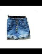 Szorty spodenki H&M wysokie high waist jeans S