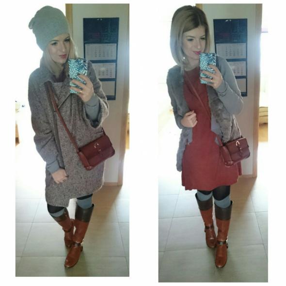 Codzienne ceglasta sukienka i oversizowy płaszcz