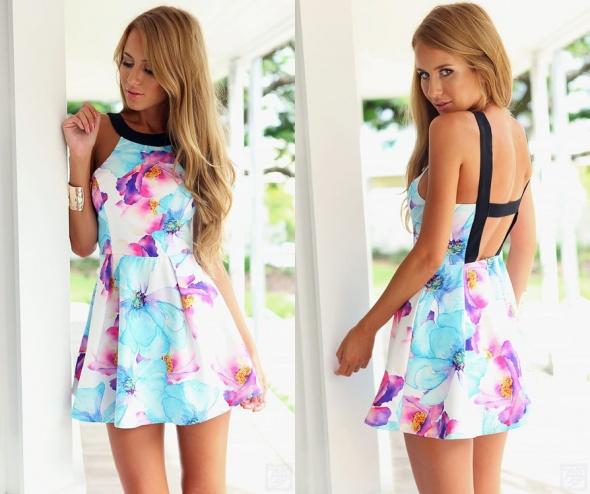 a46bc8dd88 Suknie i sukienki Zwiewna Piękna Sukienka Kwiaty HIT LATA 2015 42 XL