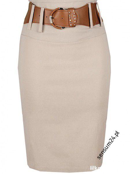 Spódnice nude beżowa ołówkowa kremowa spódnica s m l