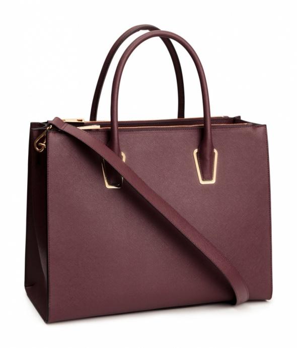 H&M bordowa torba burgund