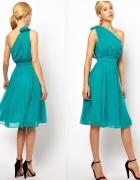 MANGO JEDWABNA turkusowa plisowana sukienka 300złM