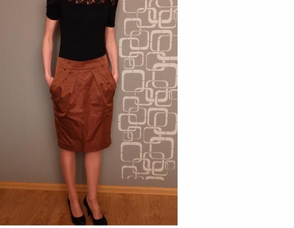 Spódnice Brązowa spódnica z kieszonkami GRATISY