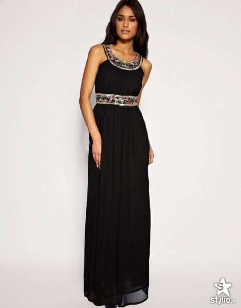 ASOS orientalna maxi sukienka koraliki
