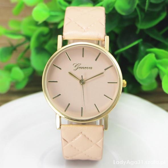 zegarek geneva pikowany pasek beż