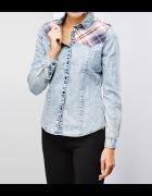 Jeansowa koszula wstawki w kretę dekatyzowana