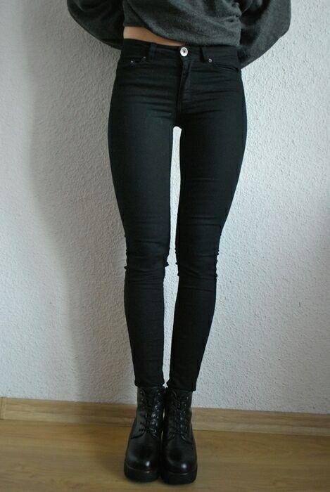 spodnie czarne wysoki stan rurki...