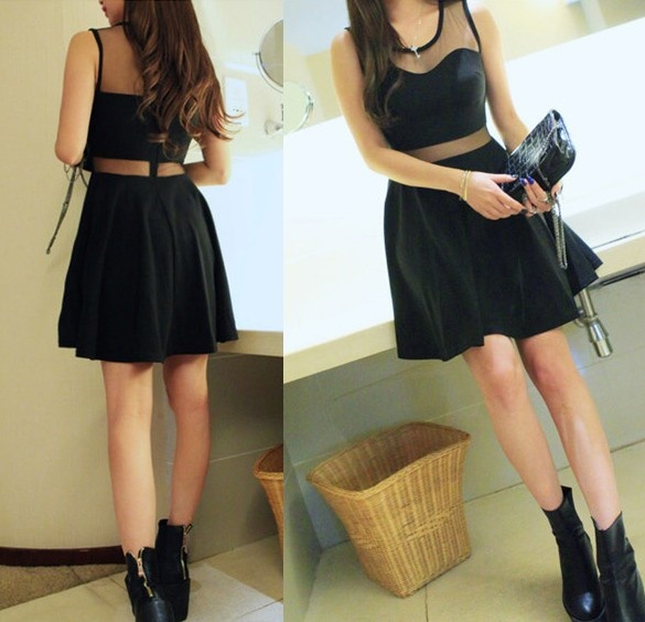 Ubrania czarna sukienka rozkloszowana