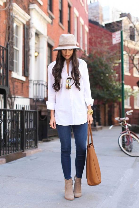Codzienne Biała koszula i kapelusz
