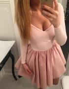 sukienka LOU pudrowy róż Dirtrose długi rękaw