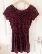 Topshop bordowa aztecka sukienka...